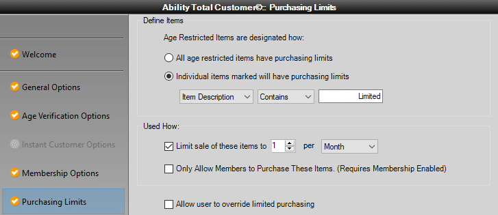 Set purchasing limits in QuickBooks Point of Sale